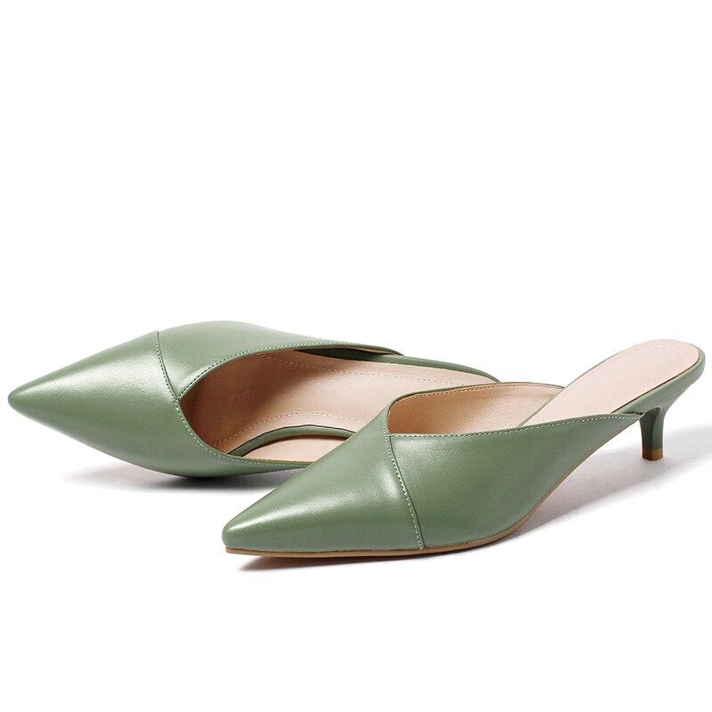 Zapatillas de cuero genuino ISNOM para mujer, calzado de punta estrecha, zapatos de tacón fino, zapatos de mulas para mujer, zapatos de verano 2019 nuevo-in Zapatillas from zapatos    3