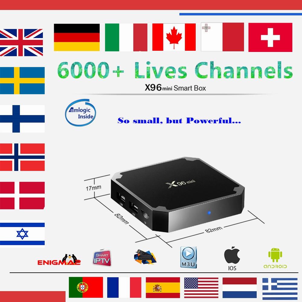 IPTV Boîte X96 mini Android 7.1 TV Box 1G/8G With1 année Europe abonnement iptv Français Espagne Italie Néerlandais livetv pour boîtier de télévision intelligent