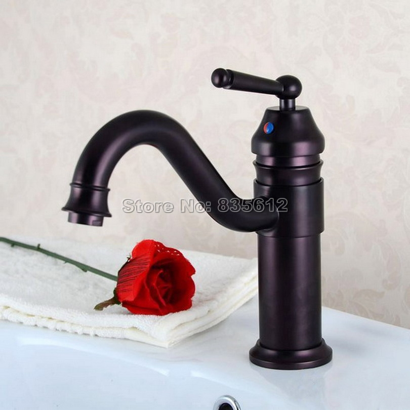 Oil Rubbed Bronze Single Handle Bathroom Basin Mixer Tap Vessel Sink Waterfall Faucet Swivel Spout Wpt008 automatic touchless sensor waterfall bathroom sink vessel faucet oil rubbed bronze