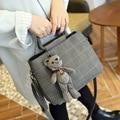 Нить плед сумки женские сумки Женская сумка Высокое качество ПУ кожа старинные мешок плеча женщины Посланник + Медведь игрушки