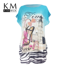 Kissmilk 2017 Big Size New Fashion Women Clothing Casual Print Long T-shirt O-Neck Short Sleeve Plus Size Basic T-shirt long sleeve plus size palm print asymmetrical t shirt