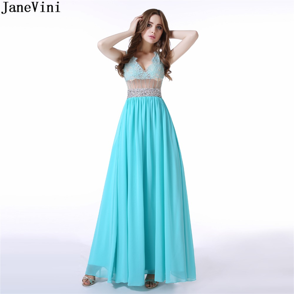 JaneVini Sexy Deep V Neck Lace Plus Size Long   Bridesmaid     Dresses   A Line Sleeveless Beaded Illusion Back Chiffon Prom Party Gowns