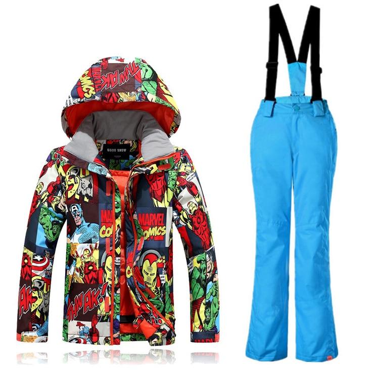 -35 degrés enfants Ski costume GSOU neige marque coupe-vent imperméable veste de Ski pantalon garçons filles Super chaud Snowboard costume épaissir nouveau - 3
