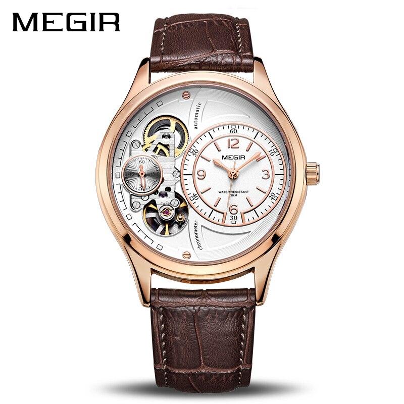 MEGIR Homens Originais Assistir Top Marca de Luxo Relógios de Quartzo Relogio masculino Militar Relógio Relógio de Couro Homens Erkek Kol Saati 2017