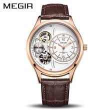 MEGIR оригинальный для мужчин часы лучший бренд класса люкс повседневные Relogio Masculino кожа военные часы Erkek коль Saati 2017