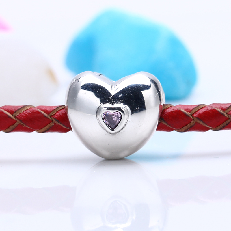 High Quality 100% 925 Sterling Silver Charms Fit Original Pandora Bracelet Pink Steady Heart Clip Charm Beads for Jewelry Making
