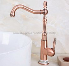 лучшая цена Antique Red Copper Basin Faucets Bathroom Sink Faucet Single Handle Deck Mounted Hot and Cold Water Single Hole Mixer Tap Knf627