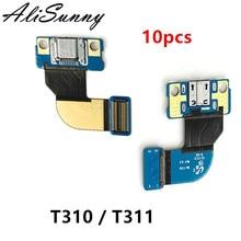 Alisunny 10pcs 충전 플렉스 케이블 삼성 탭 3 t310 t311 8.0 tab3 충전기 포트 usb 독 커넥터 수리 부품