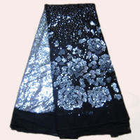Beautiful black+silver French nylon net Lace Fabric with sequins for dress FN2 4 African organza mesh cloth,many color