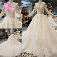 AIJINGYU Trouwjurken Bruidsjurk Vintage Kant Uit de Schouder India Plus Size Modest Gown Vintage Bruid Jurk