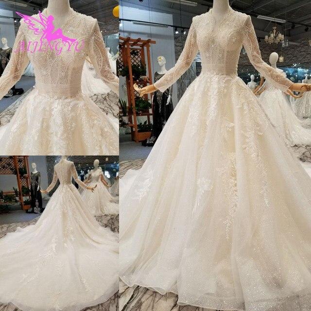 AIJINGYU vestido de novia de la boda Encaje Vintage del hombro de la India de talla grande Modest vestido Vintage vestido de novia