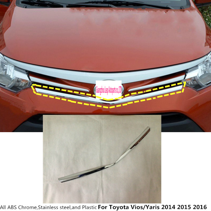 For Toyota Vios/Yaris/sedan 2014 2015 2016 car Styling protection ABS chrome trim Front up Grid Grill Grille Around panel 1pcs for toyota corolla altis 2014 2015 2016 car body styling cover detector abs chrome trim front up grid grill grille hoods 1pcs