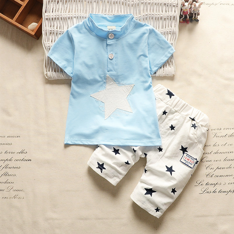 BibiCola summer infant baby boy clothes sets boys gentleman style 2pcs sets cute star t-shirt+pants children boys Casual suit