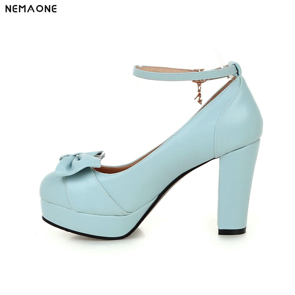 New Shoes Women Bow Causal Thick high Heels Round Toe Shoes Ladies Shoes blue white Pink Black Large Size 43