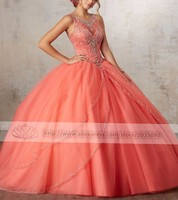 Роскошные Оранжевый Пышное Бальное Платье из бисера Стразы сладкий 16 лет платья принцесс для 15 лет Быстрая доставка