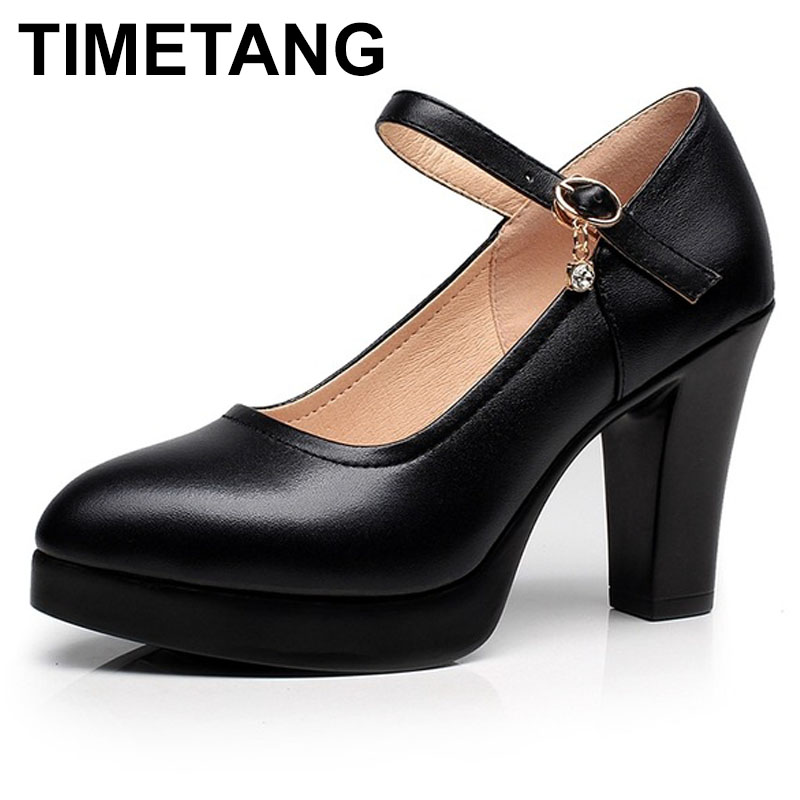 TIMETANG New Platform High Heels Pumps Pointed Toe Genuine Leather Thick High Heel Shoes Women Footwears Black White Plus Size