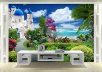 Custom mural 3d photo wallpaper Aegean sea garden home decor painting 3d wall murals wallpaper for living room walls 3 d