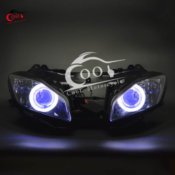 Motorcycle Full Assembly Headlight Projector Red Demon Eyes White Angel Eye Hi/Lo For Yamaha YZF R6 YZF-R6 YZFR6 2006 2007 image