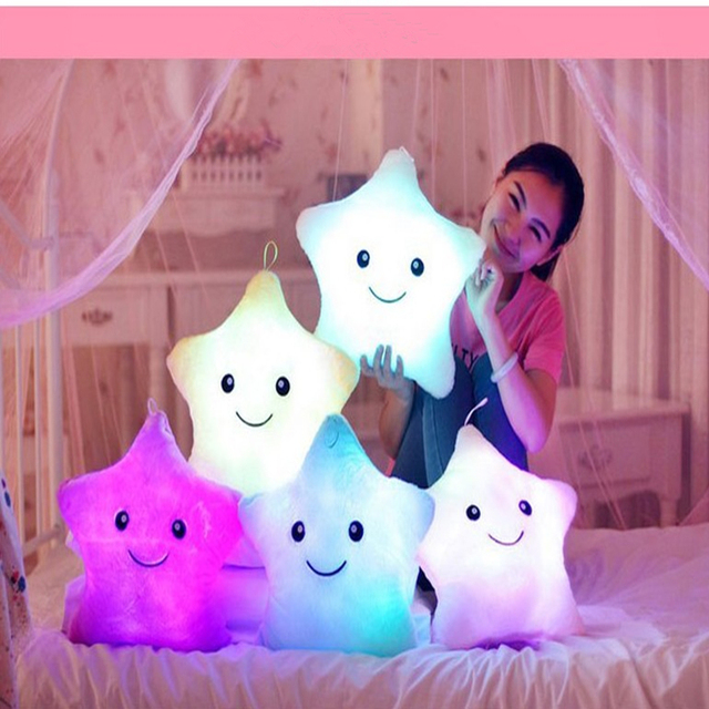 kids Toys, Birthday Gift Led Light plush Pillow LED Light Pillow color rich and colorful stars, Luminous pillow Christmas Toys