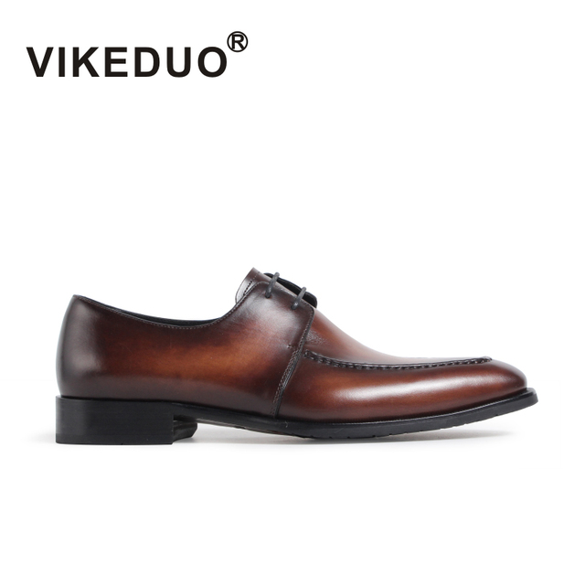 VIKEDUO Vintage Shoes For Men Brown Genuine Leather Handmade Footwear Wedding Office Dress Derby Shoes Man Patina Zapato Hombre