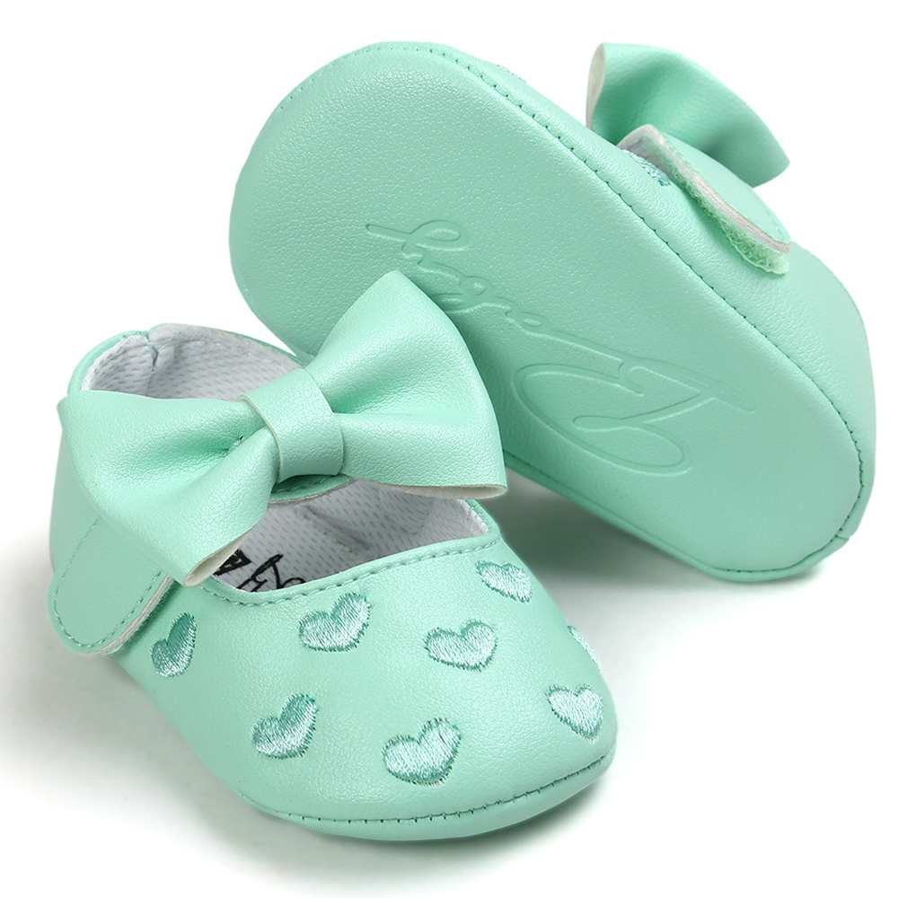 Mint Green Baby Shoes Princess Bow Girl Baby Toddler Shoes Casual Soft Non-slip Newborn Shoes First Walker