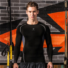 Mens Training Exercise Sports Shirt Running T Shirts Long Sleeve Dry Fit Fitness Basketball Tops Gym Compression Tight Tees
