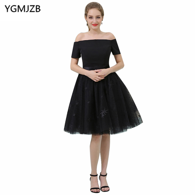 e5ea6bd8976b6 Simple Black Prom Dresses 2018 A Line Boat Neck Short Sleeve Off Shoulder  Appliques Lace Cocktail Dress Knee Length Party Dress