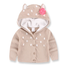 New Children Knitted Sweater Animal Deer Ears Girls Sweater with Hooded Cotton Knitwear Winter Toddlers Sweater Kids Clothes