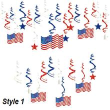 купить 30pcs 4th of July Red White Blue Independence Day Hanging Swirls Decor Memorial Day Patriotic Decorations American Party дешево