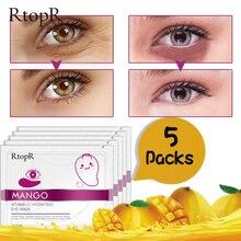 5 Pairs Mango Vitamin C Hydrating Eye Mask Eliminate Dark Circles Whitening Anti-aging Firming Eye Skin Care Moisture Eye Patch