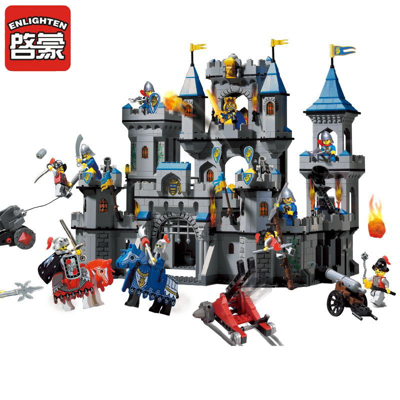 ENLIGHTEN 1023 Medieval Lion Castle Knight Carriage Figure Blocks Compatible Legoe Construction Building Toys For Children enlighten 908 scaling ladder fire rescue truck firefighting figure blocks construction bricks toys for children compatible legoe