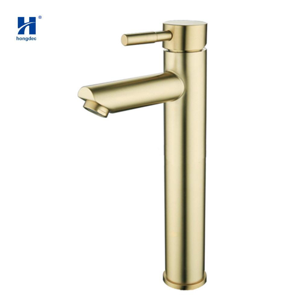 Hongdec Single Handle Brushed Gold Basin Faucet Bathroom Contemporary cold and hot mixer sink TapHongdec Single Handle Brushed Gold Basin Faucet Bathroom Contemporary cold and hot mixer sink Tap