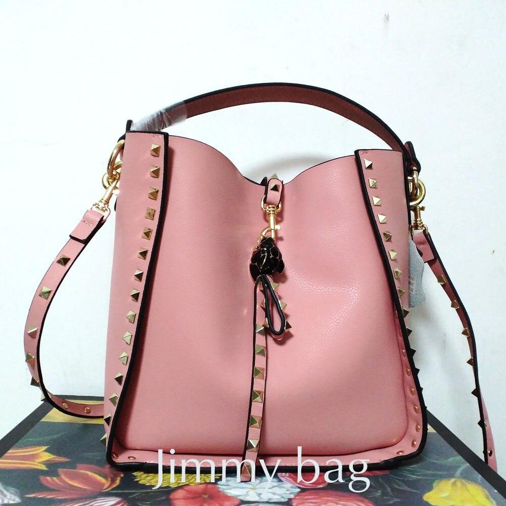 2019 Leisure Nude Pink Bucket Bag Rivet Brand Design Women s Handbag Real Cowhide Leather Female