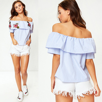 summer 2018 sexy womens tops stripes off shoulder ruffle sleeve rose flower embroidery t shirt top fringe plus size casual loose