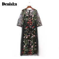 2017 Sexy Perspective Robe Flower Embroidery Dress Runway Brand Mesh Lace Long Maxi Dresses Big Sizes