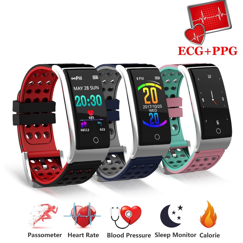 Умный Браслет фитнес-браслет пульсометр кровяное давление часы ЭКГ + PPG умный Браслет ЭКГ часы Смарт для IOS Android