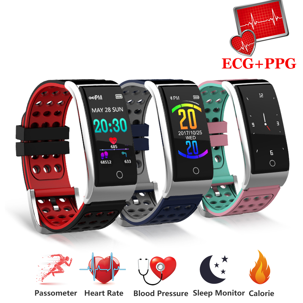 Bracelet intelligent Fitness Bracelet moniteur de fréquence cardiaque montre de tension artérielle ECG + PPG Bracelet intelligent ECG montre intelligente pour IOS Android