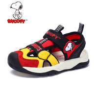 Snoopy Children Sandals for Boys PU Leather Dog Orthopedic Hook&loop Shoes Closed Toe Kids Girls Sandals