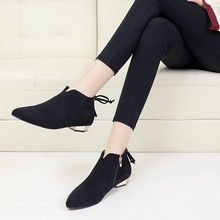 Women Short Boots Flock 2018 Fashion Women's Pointed Toe Low-heeled Shoes Suede Booties Zipper Bow Single Shoes botas feminina(China)