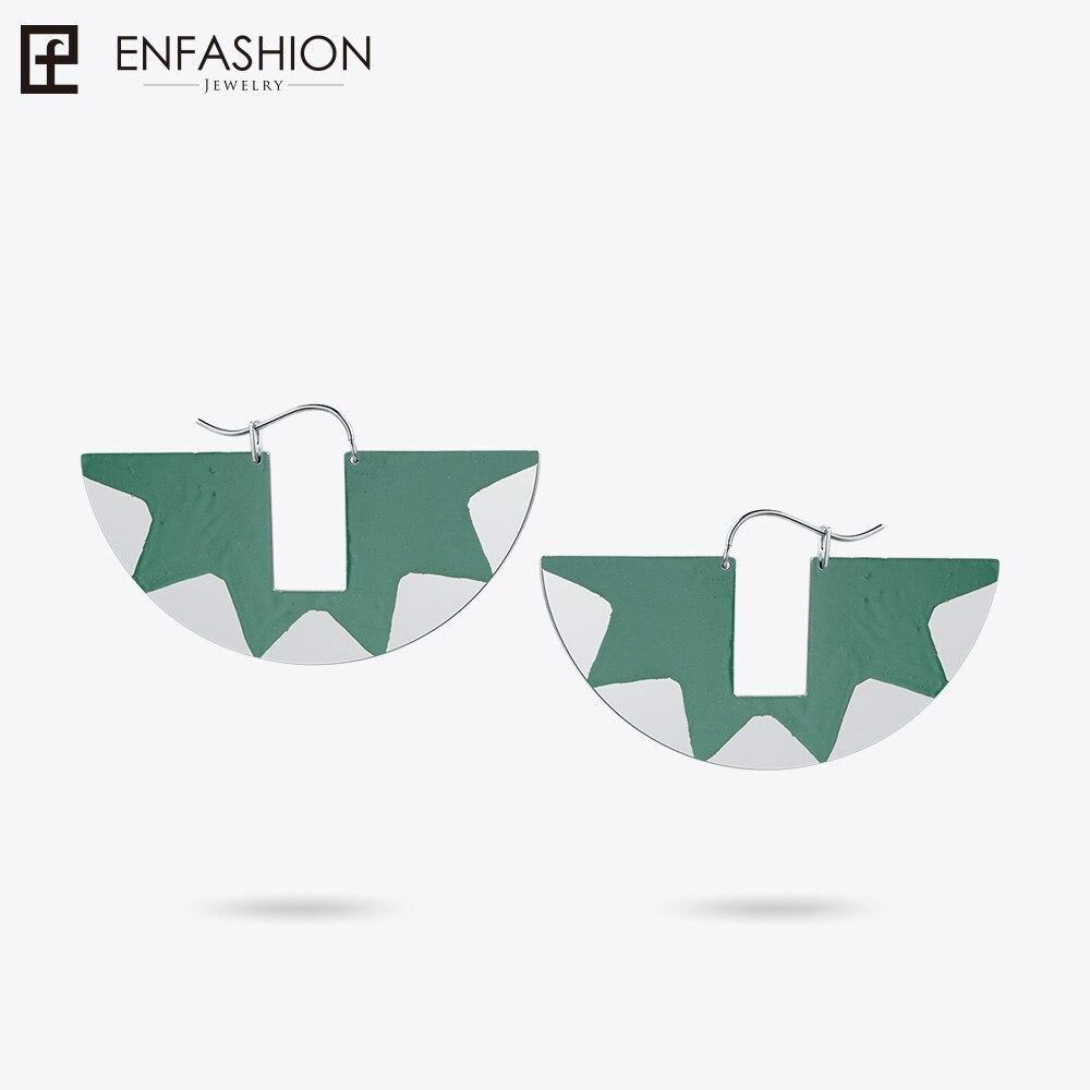Enfashion Lacquer Art Series Frog Claw Drop Earrings Fan Shape Big Silver color Earrings for Women Earrings oorbellen EBQ18LA34 стоимость