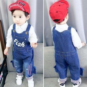 Image 3 - 새로 태어난 아기 바지 유아 면화 귀여운 청바지 작은 아이 멜빵 데님 바지 0 4T 용 베이비 아웃웨어 소년 소녀 바지