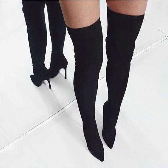 Hot Selling Long Boots Real Photo Apricot Black Pink Suede Pointed Toe Over The Knee Boots Thin Slim Fit Boots Stiletto Heels - 4