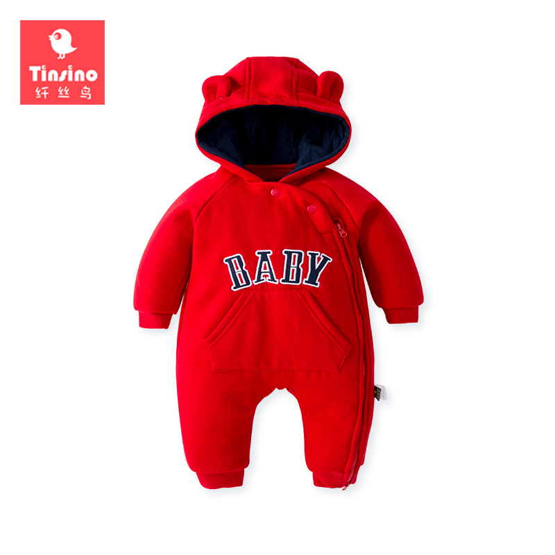 Tinsino Newborn Baby Girls Boys Winter Rompers Infant Autumn Thickening Hooded Jumpsuits Toddler Spring Clothes Baby Clothing baby climb clothing newborn boys girls warm romper spring autumn winter baby cotton knit jumpsuits 0 18m long sleeves rompers