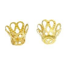 Doreen Box Lovely 260PCs Ornate Filligree Golden Bell Bead Caps -7mm  (B00353)