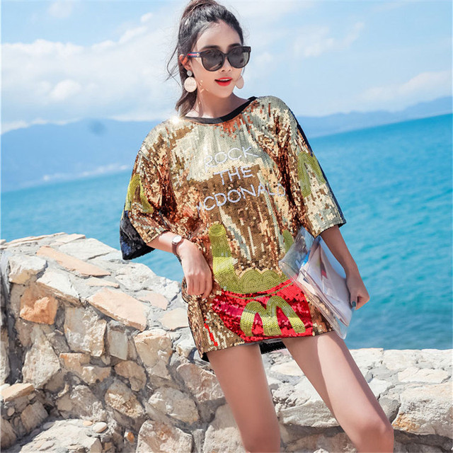 New Stitching Sequin T-shirt 2018 Fashion Hip Hop Bling T-shirt T-shirt  Street Cool T Shirt For Stage Dance Club Party Women Top 73ccf5c762e6