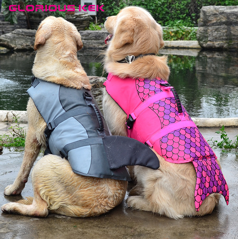 GLORIOUS KEK Naujausi šunų gyvybės liemenės vasaros naminių šunų gelbėjimosi liemenės saugos vasaros šunų drabužiai Mieli undinė ryklių šunų kostiumas S / M / L