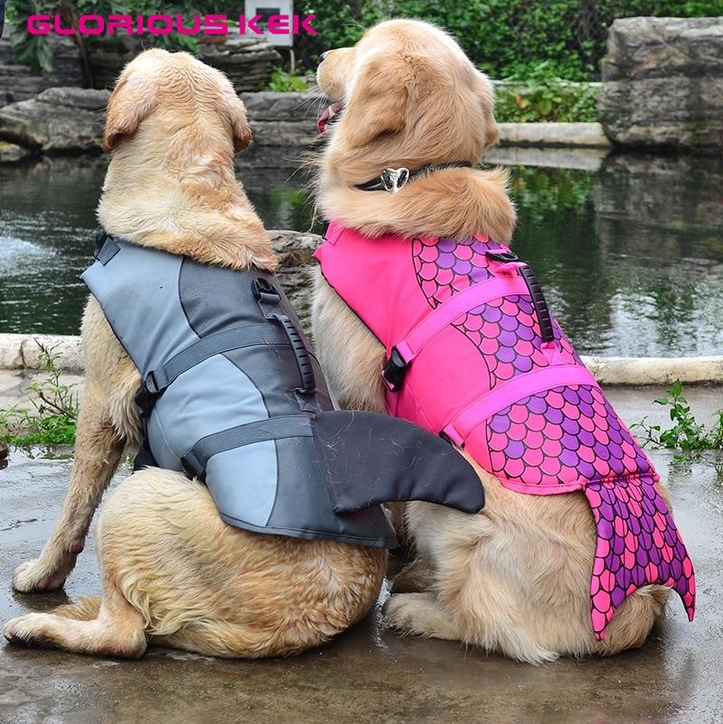 GLORIOUS KEK nieuwste hond zwemvest zomer hond zwemvest veiligheid zomer hondenkleding schattige zeemeermin haai hond kostuum S / M / L