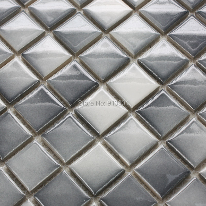 Discontinued Bathroom Tile: Ceramic Mosaic Tiles Gray Plated Porcelain Kitchen Back