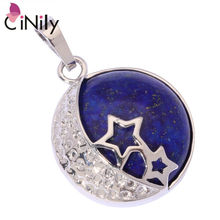 CiNily Natural Lapis Lazuli White Gold Color Wholesale Round Star for Women Jewelry Party Gift Pendant 1 3/8″ FD837