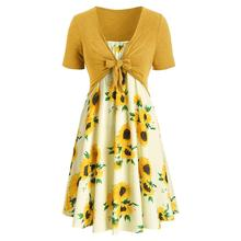 Fashion Summer Women Short Sleeve Bow Knot Bandage Top Sunflower Print Mini Dress Suits Ladies Hot Sale Beach vestidos For 2019 sunflower print bow tie detail frill top with shorts